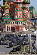 Moscow, Russia, 09/05/2008..Russian 2S19 Msta self-propelled howitzers followed by SA-19 Grison/TUNGUSKA surface-to-air gun/missile systems exiting Red Square during the 63rd Victory Day celebrations, marking the end of the Second World War, referred to in Russia as the Great Patriotic War.