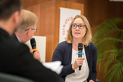 18 September 2017, Geneva, Switzerland: A talkshow format presents a range of programmes and activities of the World Council of Churches, at the Ecumenical Centre in Geneva where the WCC hosts a meeting of member churches' Ecumenical Officers. Here, interview with Frederique Seidel.