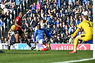 Portsmouth Midfielder, Viv Solomon-Otabor (19) gets a cross in during the EFL Sky Bet League 1 match between Portsmouth and Barnsley at Fratton Park, Portsmouth, England on 23 February 2019.