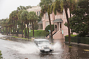 A jeep plows through floodwater along the Battery in the historic district as Hurricane Joaquin brings heavy rain, flooding and strong winds as it passes offshore October 4, 2015 in Charleston, South Carolina.