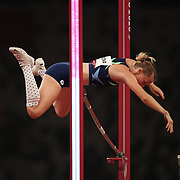 TOKYO, JAPAN:  August 5:   Anzhelika Sidorova of ROC in action during her silver medal performance in the pole vault for women during the Track and Field competition at the Olympic Stadium  at the Tokyo 2020 Summer Olympic Games on August 5, 2021 in Tokyo, Japan. (Photo by Tim Clayton/Corbis via Getty Images)