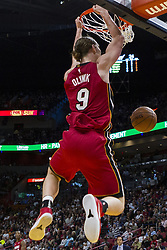 January 14, 2018 - Miami, FL, USA - Miami Heat forward Kelly Olynyk (9) dunks in the second quarter against the Milwaukee Bucks on Sunday, Jan. 14, 2018 at the AmericanAirlines Arena in Miami, Fla. (Credit Image: © Matias J. Ocner/TNS via ZUMA Wire)