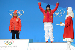 February 17, 2018 - Pyeongchang, South Korea - FANYU KONG of China celebrates getting the bronze medal in the Ladies' Arials freestyle skiing skating event in the PyeongChang Olympic Games. (Credit Image: © Christopher Levy via ZUMA Wire)