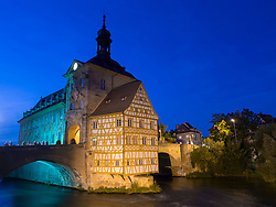 Old town hall or Altes Rathaus in the evening  in Bamberg Bavaria Germany
