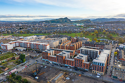 Aerial view of new apartment buildings and skyline of Edinburgh in Leith, Midlothian,  Scotland, UK
