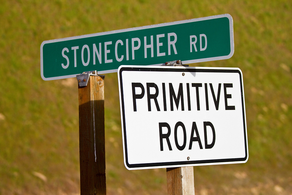Stonecipher Road and Primitive Road Signs on the Washington Palouse back roads. Licensing and Open Edition Prints.
