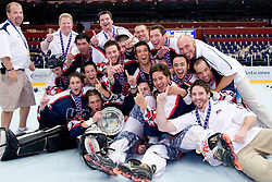 Team USA celebrate gold medal at IIHF In-Line Hockey World Championships Top Division Gold medal game between National teams of Czech Republic on July 4, 2010, in Karlstad, Sweden. (Photo by Matic Klansek Velej / Sportida)