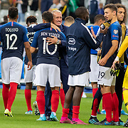 PARIS, FRANCE - September 10:  Wissam Ben Yedder #10 of France is congratulated on his goal by Didier Deschamps, head coach of France at the end of the match during the France V Andorra, UEFA European Championship 2020 Qualifying match at Stade de France on September 10th 2019 in Paris, France (Photo by Tim Clayton/Corbis via Getty Images)