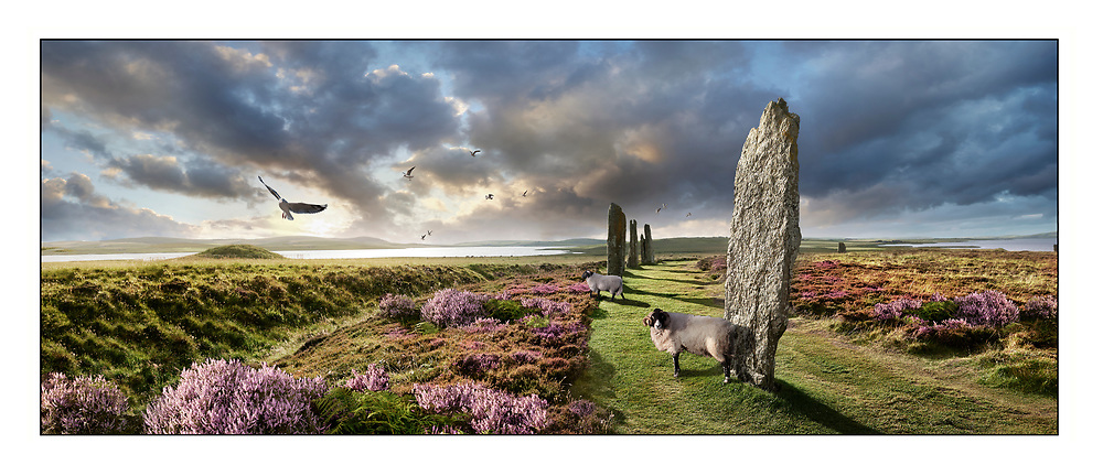 Circles of Stone  The Ring of Brodgar  ( circa 2,500 to circa 2,000 BC) is a Neolithic henge and stone circle or henge, the largest and finest stone circles in the British Isles, Mainland Orkney, Scotland. Photo art by Paul Williams