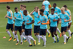 The payers of Netherlands U21 during the warming up during the training session of Netherlads U21 at the KNVB training centre on August 30, 2017 in Zeist, The Netherlands