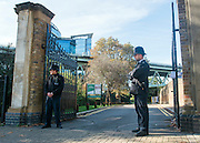 © Licensed to London News Pictures. 05/10/2014. Brentford, UK. Police officers guard the entrance to the park.  Police remove the body of Arnis Zalkains from Boston Manor Park today 5th October 2014. The body of a man, believed to be Latvian killer Arnis Zalkalns, was found in Boston Manor Park, Brentford, almost six weeks after the schoolgirl Alice Gross vanished.Arnis Zalkalns was prime suspect in the murder of 14-year-old Alice Gross.. Photo credit : Stephen Simpson/LNP