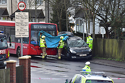 © Licensed to London News Pictures. 08/02/2020.  London UK: Emergency services on scene in Squirrels Heath road in Romford, east London, after two people were killed in a multiple car crash near the junction with the A 127. Seven other people have been taken to hospital from the crash which happened at around 1.30 pm today   , Photo credit: Steve Poston/LNP