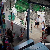 South America, Brazil. Rio de Janiero. Recycled plastic bottles make decorations at Para Ti school in Favela of Vila Canoas.