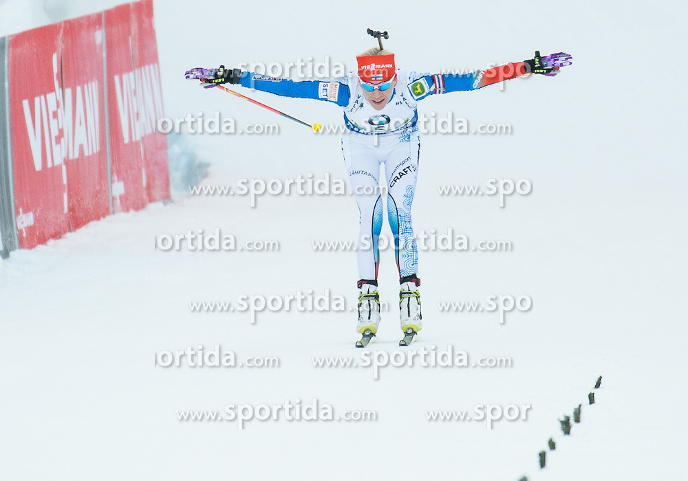 Kaisa Makarainen (FIN) celebrates at finish line after winning  during Women 12.5 km Mass Start at day 4 of IBU Biathlon World Cup 2015/16 Pokljuka, on December 20, 2015 in Rudno polje, Pokljuka, Slovenia. Photo by Vid Ponikvar / Sportida