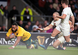 December 3, 2016 - London, England, United Kingdom - Australia's Sekope Kepu  goes over for his try during Old Mutual Wealth Series match between England against Australia at Twickenham stadium , London, Britain on 3 December 2016. (Credit Image: © Kieran Galvin/NurPhoto via ZUMA Press)