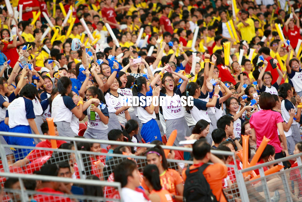 Supporters at the finals of the National Schools Track and Field Championships on Fri, Apr 29, 2016, at the National Stadium.