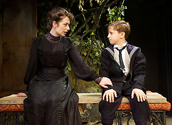 The Last of the De Mullins<br /> by St. John Hankin<br /> directed by Joshua Stamp-Simon<br /> Designed by Victoria Johnstone<br /> Music by Ricky Whales<br /> Produced by Stephen McGill and Joel Marvin <br /> at the Jermyn Street Theatre, London, Great Britain <br /> press photocall <br /> 4th February 2015 <br /> <br /> <br /> <br /> Harriet Thorpe as Mrs Clouston <br /> Rufus King-Dabbs as Johnny <br /> <br /> <br /> Photograph by Elliott Franks <br /> Image licensed to Elliott Franks Photography Services