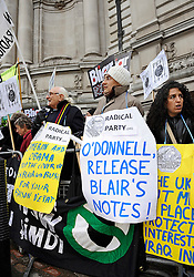 © Under license to London News Pictures. Protests took place outside the Iraq Inquiry in Central London today as Former Prime Minister Tony Blair gives evidence for the second time at the Queen Elizabeth Conference Center in Westminster. The Chilcot Inquiry is questioning Mr Blair about events that led to the Iraq war..Photographer: Lee Durant.Date: 21/01/11