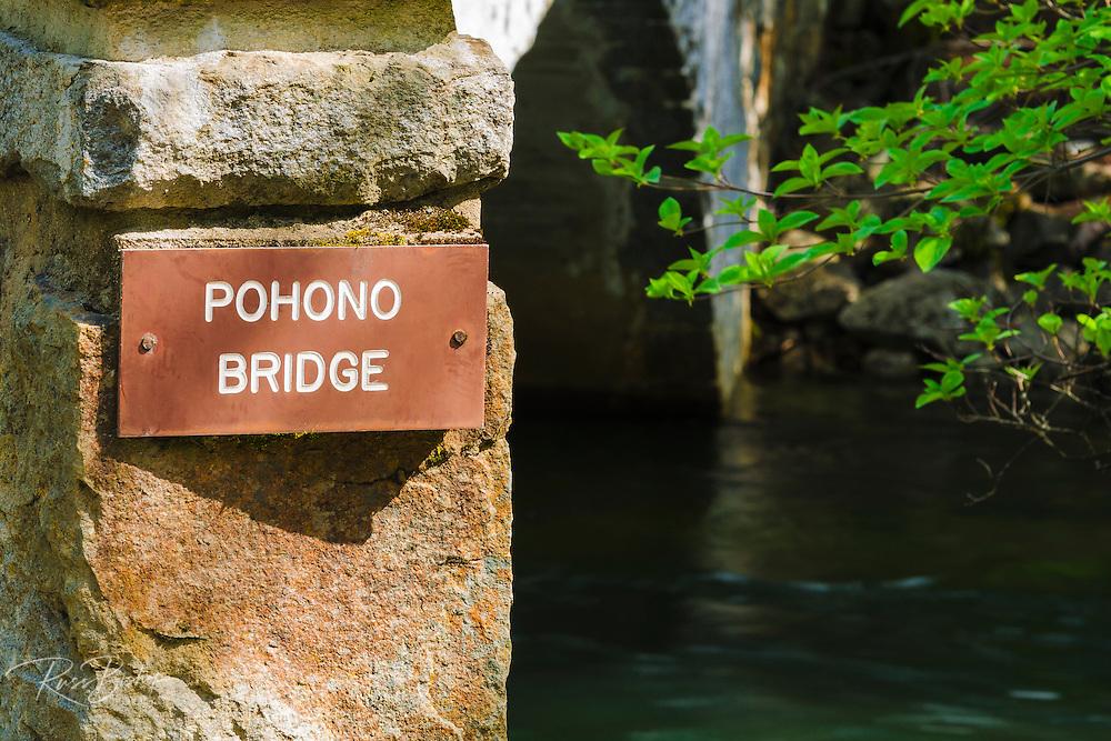 The Pohono Bridge over the Merced River, Yosemite National Park, California USA