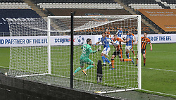 Jonson Clarke-Harris of Peterborough United watches as the ball goes into the back of the net for the equalising goal - Mandatory by-line: Joe Dent/JMP - 24/10/2020 - FOOTBALL - KCOM Stadium - Hull, England - Hull City v Peterborough United - Sky Bet Championship