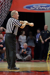 09 December 2017:  Gerry Pollard calls a foul during a College mens basketball game between the Murray State Racers and Illinois State Redbirds in  Redbird Arena, Normal IL