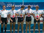 Aiguebelette, FRANCE.   GBR M4X Gold Medallist left. Graeme THOMAS, Sam Townsend, Charles COUSINS  and Peter LAMBERT.  2014 FISA World Cup II, 12:57:55  Sunday  22/06/2014. [Mandatory Credit; Peter Spurrier/Intersport-images]