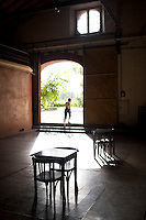 A hotel guest leaves a tasting room at Club Tapiz, a boutique hotel in the Luján de Cuyo area of Mendoza, Argentina.