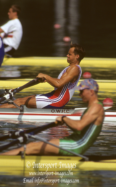 Barcelona, SPAIN. GBR M1X, Wade HALL-CRAGGS at the start, heats, 1992 Olympic Rowing Regatta Lake Banyoles, Catalonia [Mandatory Credit Peter Spurrier/ Intersport Images]