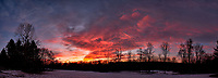 Dawn Morning Clouds. Winter Backyard Nature in New Jersey. Composite of 10 images taken with a Fuji X-T1 camera and 16 mm f/1.4 lens (ISO 200, 16 mm, f/5.6, 1/60 sec). Raw images processed with Capture One Pro and the composite generated with AutoPano Giga Pro.