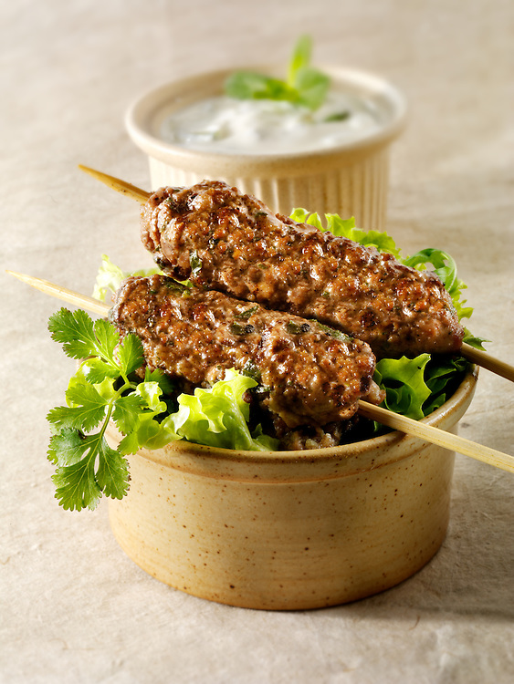 Kofta kebabs with salad & yoghurt