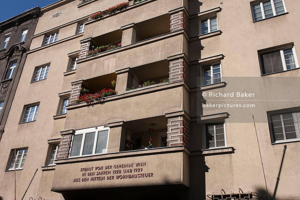 City architecture from the 1920s in Leopoldstadt, Vienna, Austria, EU.