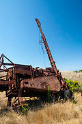 An abandoned oil drilling rig along Smugglers Road atop Santa Cruz Island, Channel Islands National Park, California, USA.