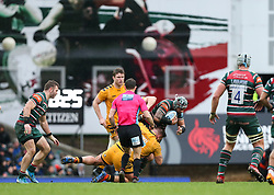 Dan Cole of Leicester Tigers is grounded by Kieran Brookes of Wasps - Mandatory by-line: Arron Gent/JMP - 15/02/2020 - RUGBY - Welford Road Stadium - Leicester, England - Leicester Tigers v Wasps - Gallagher Premiership Rugby