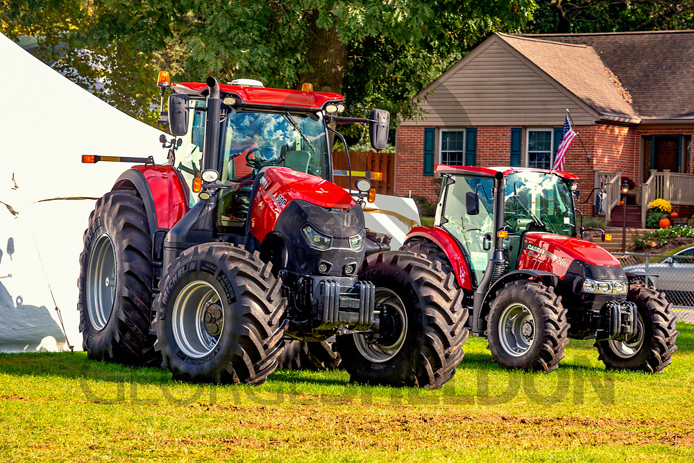 Ephrata, PA, USA - September 28, 2018: Farm tractors on display at the annual late summer street fair