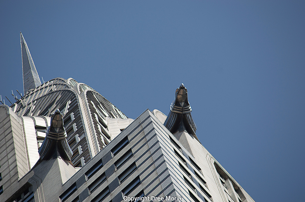Gargoyles and spire of the Chrysler building, New York City