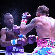 DAYTONA BEACH, FL - AUGUST 15:  Alberto Palmetta punches Tre'Sean Wiggins during a boxing match at the Ocean Center on August 15, 2020 in Daytona Beach, Florida. (Photo by Alex Menendez/Getty Images) *** Local Caption *** Tre'Sean Wiggins; Alberto Palmetta