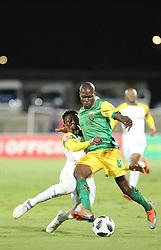 Durban, SOUTH AFRICA - SEPTEMBER 19: Lerato Lamola and Lebohang Maboe playing for a ball during the Absa Premiership match between Golden Arrows and Mamelodi Sundowns at Princess Magogo Stadium on September 19, 2018 in Durban, South Africa. <br /> (Photo by Motshwari Mofokeng/ANA)