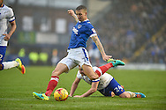 Portsmouth Midfielder, Carl Baker (7) with a shot at goal during the EFL Sky Bet League 2 match between Portsmouth and Mansfield Town at Fratton Park, Portsmouth, England on 12 November 2016. Photo by Adam Rivers.