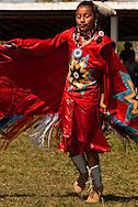 Teenage girl, Womens Fancy Shawl Dance, Crow Fair, powwow, Crow Indian Reservation, Montana