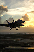 F/A-18 Landing on carrier deck.