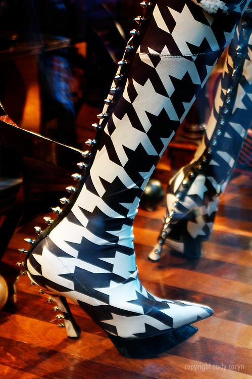 Herringbone studded boots