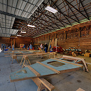 Boat building frames are set up the day before the families arrive.
