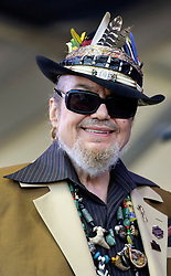 "03 May 2015. New Orleans, Louisiana.<br /> The New Orleans Jazz and Heritage Festival. <br /> Dr John, Malcolm John ""Mac"" Rebennack plays the Gentilly stage.<br /> Photo; Charlie Varley/varleypix.com"