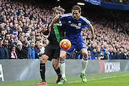 Nemanja Matic of Chelsea blocks the ball from Marc Muniesa of Stoke City. Barclays Premier league match, Chelsea v Stoke city at Stamford Bridge in London on Saturday 5th March 2016.<br /> pic by John Patrick Fletcher, Andrew Orchard sports photography.