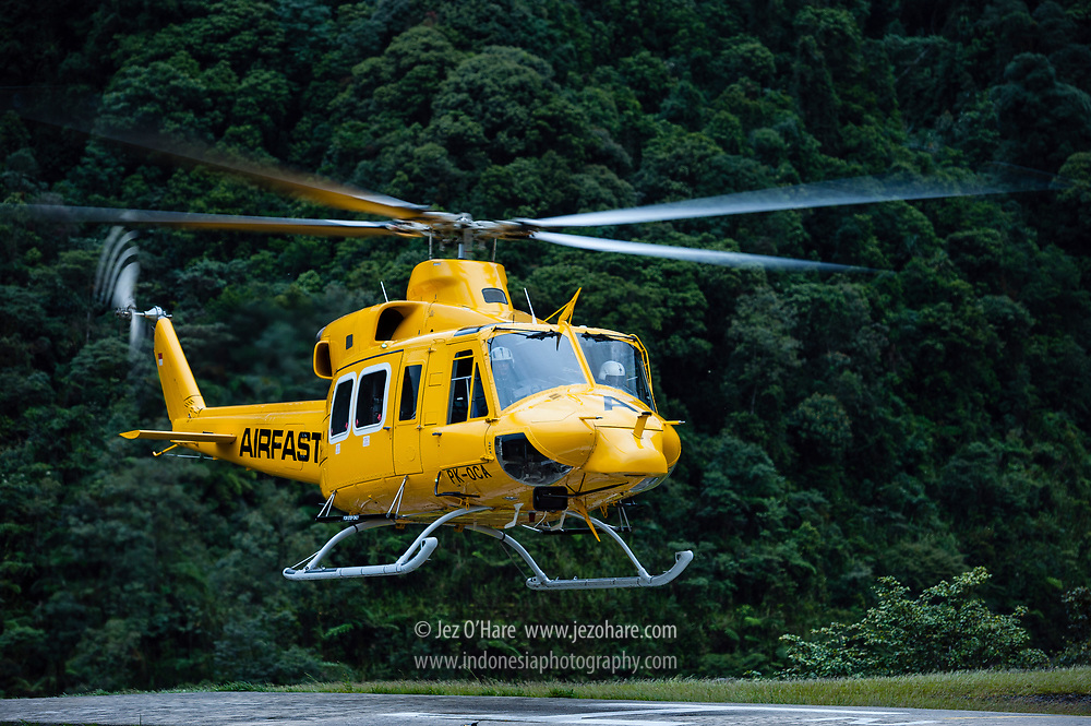 Capt. Adhian P. Armun & Fahrudin landing in a PT Freeport Bell 412 at Tembagapura helipad, Mimika, Papua, Indonesia.