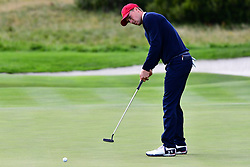 September 30, 2017 - Jersey City, New Jersey, U.S - Jordan Spieth of the US Team putting on the 16th hole during Saturday matches of the Presidents Cup at Liberty National Golf Club in Jersey City, NJ  (Credit Image: © Brian Ciancio via ZUMA Wire)