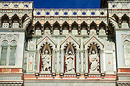 Statues of the Apostles and the  the fine Gothic architectural detail of  the  of the Gothic-Renaissance Duomo of Florence,  Basilica of Saint Mary of the Flower; Firenza ( Basilica di Santa Maria del Fiore ).  Built between 1293 & 1436. Italy .<br /> <br /> Visit our ITALY PHOTO COLLECTION for more   photos of Italy to download or buy as prints https://funkystock.photoshelter.com/gallery-collection/2b-Pictures-Images-of-Italy-Photos-of-Italian-Historic-Landmark-Sites/C0000qxA2zGFjd_k<br /> .<br /> <br /> Visit our MEDIEVAL PHOTO COLLECTIONS for more   photos  to download or buy as prints https://funkystock.photoshelter.com/gallery-collection/Medieval-Middle-Ages-Historic-Places-Arcaeological-Sites-Pictures-Images-of/C0000B5ZA54_WD0s