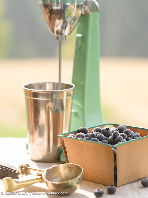 Blueberries and vintage milk shake blender.