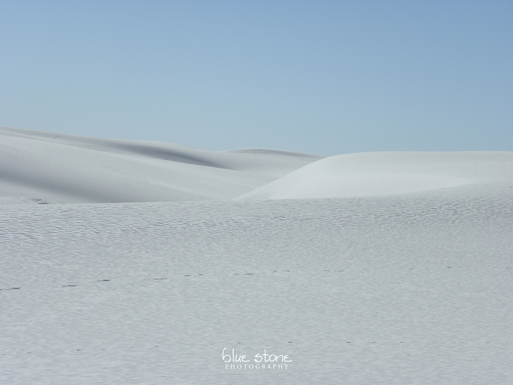 The surreal landscape in the heart of the gypsum dunes.