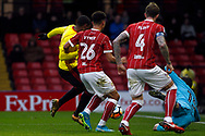 Andre Carrillo of Watford (L) takes a shot at goal which is saved by Luke Steele of Bristol City (R). The Emirates FA Cup, 3rd round match, Watford v Bristol City  at Vicarage Road in Watford, London on Saturday 6th January 2018.<br /> pic by Steffan Bowen, Andrew Orchard sports photography.